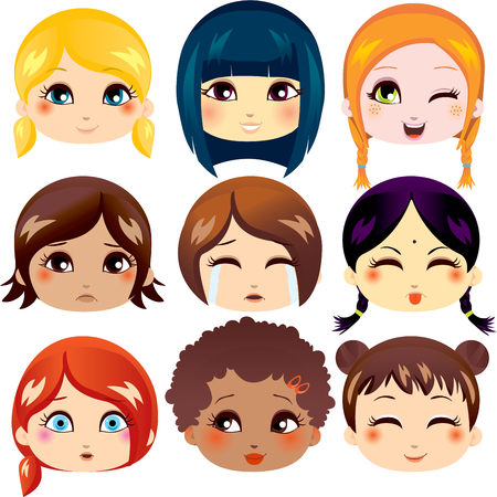 Set van negen gezichtsuitdrukkingen van cute meisjes van verschillende etnische groepen