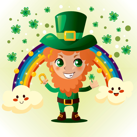 Cute Leprechaun holding a gold horseshoe and shamrock Vector