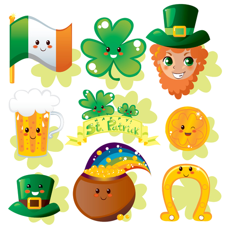 Collection set of miscellaneous Saint Patricks day holiday elements Vector