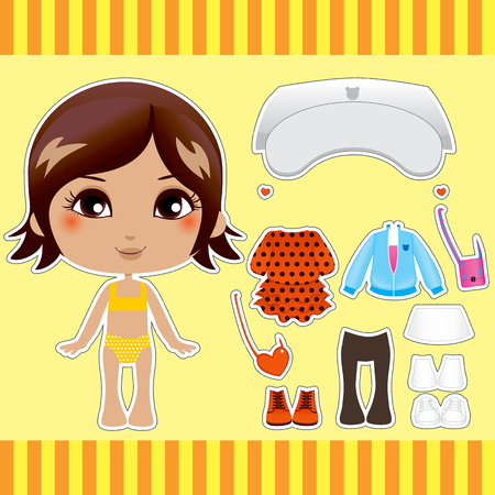 paper dolls: Sweet and cute brunette latina fashion girl clothes collection set
