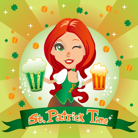haired: St. Patricks day sexy red haired waitress smiling with two mugs of beer, one green and one gold