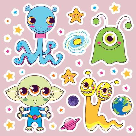 cartoon alien: Four sweet cute child alien monsters with planets and happy stars