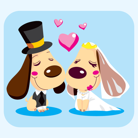 tuxedo: Cute married dog couple smiling in love on wedding day dressed for the occasion.