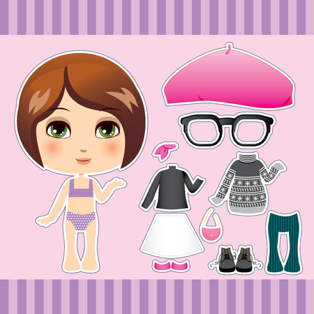 paper dolls: Sweet and cute brunette caucasian fashion girl clothes collection set Illustration