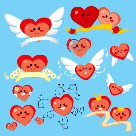 Collection of different cute happy heart cartoon icons for St. Valentines Day holiday Vector