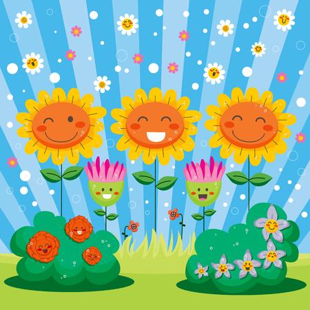 welcome smile: Lindo jard�n lleno de flores felices celebrando la fiesta de bienvenida de primavera Vectores