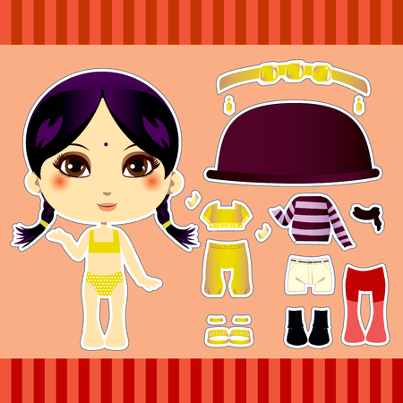 Sweet and cute hindu fashion girl clothes collection set Vector