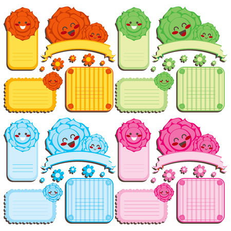 orange rose: Collection of cute Rose flower template labels in four different color sets Illustration