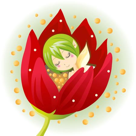 hadas caricatura: Linda hadas de flor poco nacido de un tulipán flor  Vectores