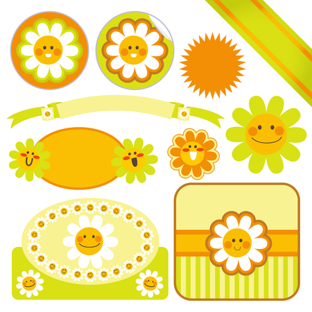 label frame: Collection of cute Daisy flower template labels and stickers in green and orange