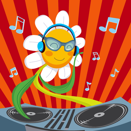 dj turntable: Cute active Dj Daisy Flower mixing music for spring party
