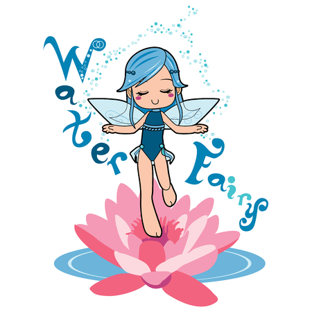 levitating: Sweet water fairy girl making relaxation magic levitating on top of a lotus flower Illustration