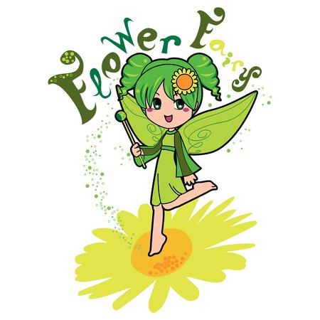 girl magic wand: Cute flower fairy girl making green magic flying on top of a daisy flower