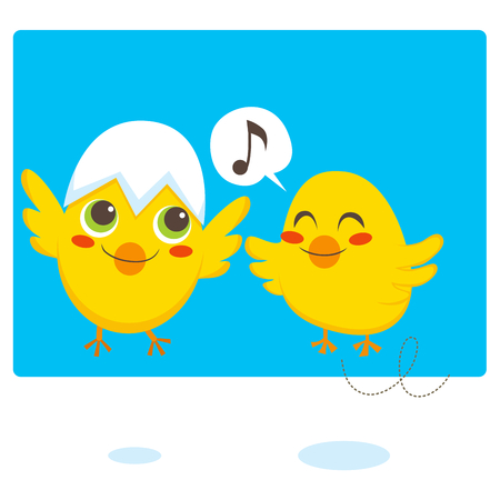 Two newborn chicks learning to fly and sing Vector
