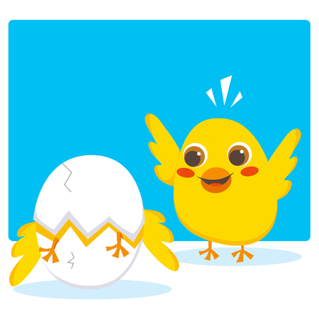 Chick cheering his brother breaking the egg to begin a new life Vector