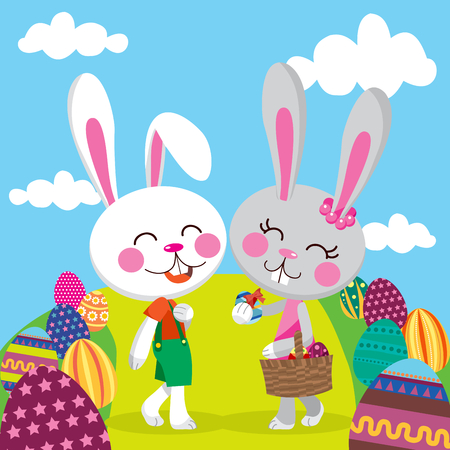 Bunny couple celebrating Easter holiday sharing eggs and walking through a pathway Vector