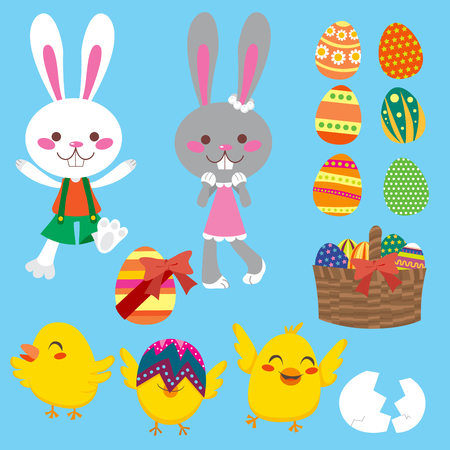 Cute and sweet Easter elements collection set Vector