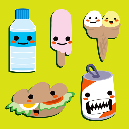 Cute food and drink elements to have a happy lunch Vector