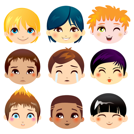 Set of nine facial expressions of little boys from various ethnic groups 일러스트