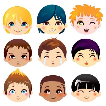gezichts uitdrukkingen: Set van negen gezichtsuitdrukkingen van kleine jongens uit verschillende etnische groepen