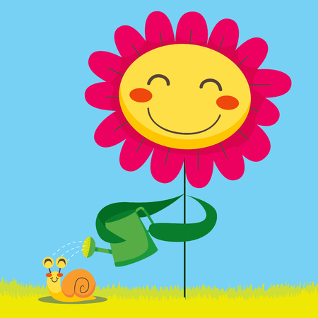 Happy flower showering a cute snail with a green watering can Illustration
