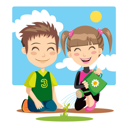 watering of plants: Children irrigating a plant with a green watering can
