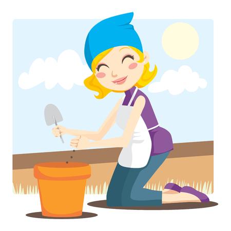 soils: Donna bionda piantare i semi di fiori in un vaso con una piccola pala