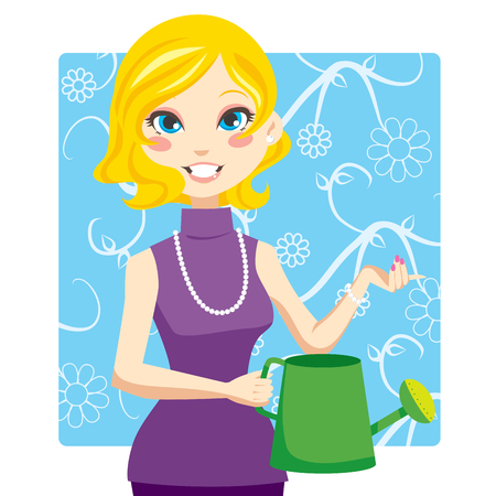 Blonde woman holding a green watering can with her hand Vector