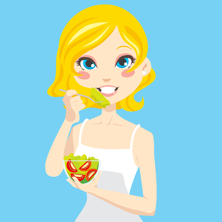 Beautiful blonde woman eating healthy vegetable salad and smiling Vector