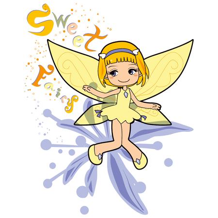hairband: Sweet fairy making happiness magic levitating over a blue jasmine flower Illustration