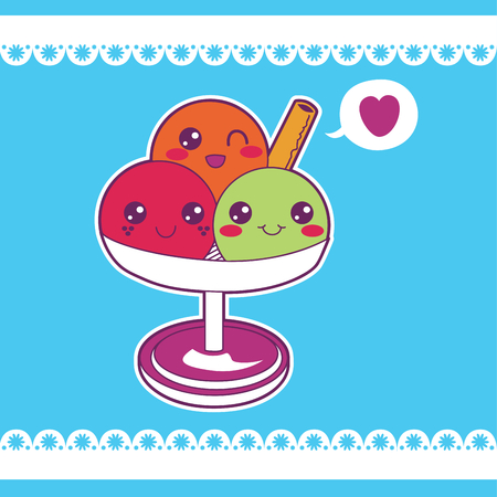 gelato: Three cute and sweet ice cream scoops on a cup waving a biscuit and winking with love