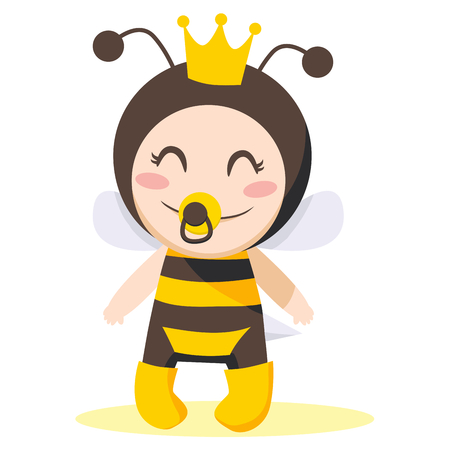 Cute sweet baby girl wearing queen bee costume