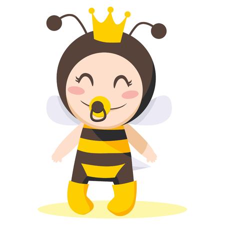 Linda dulce niña vestir traje de abeja reina Vectores