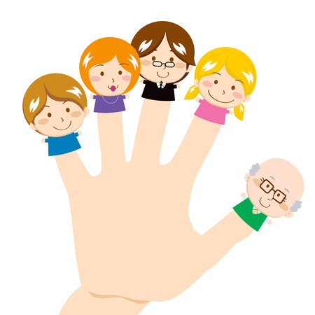 index finger: Cute and sweet finger family smiling happy
