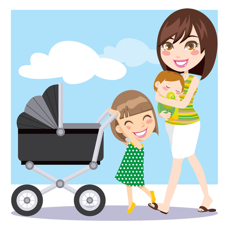 Cute mother walking with son on her arms while daughter is pushing a baby carriage Vector