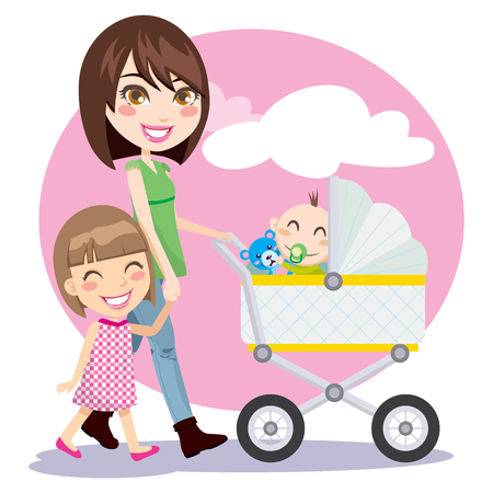 Woman holding hands with little girl and pushing baby carriage Vector