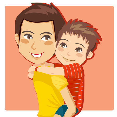 shoulder ride: Father giving his little boy piggyback ride smiling