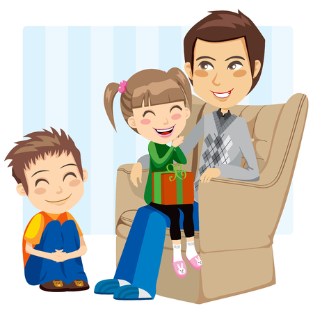 couch: Son and daughter giving a surprise present to their father