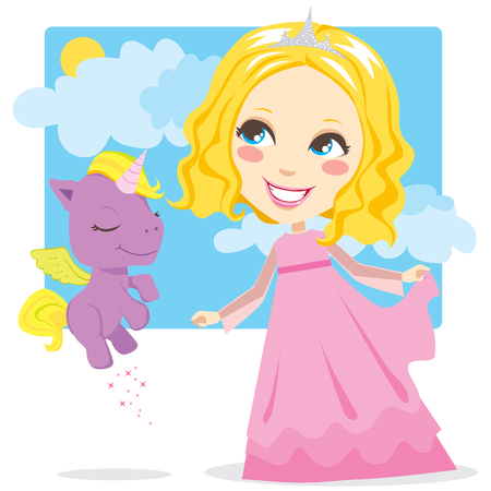 Cute blond princess smiling and playing with little magical winged unicorn Vector