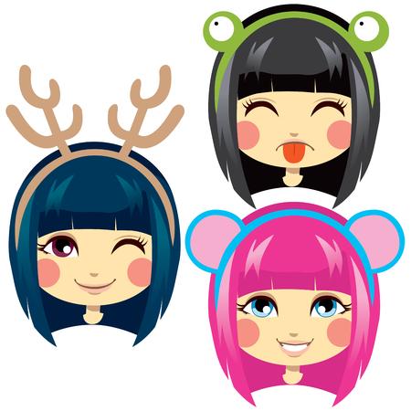 cintillos: Tres chica dulce encabeza usando cintas cabeza lindo traje animal para carnaval Vectores