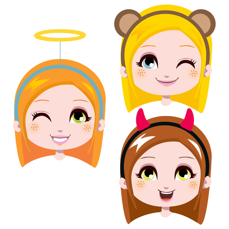 children group: Three sweet girl heads wearing cute costume headbands for carnival