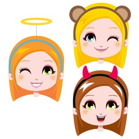 ni�os rubios: Tres jefes de dulce ni�a llevaba lindo traje cintas cabeza de Carnaval Vectores