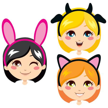 Three sweet girl heads wearing animal costume headbands for carnival Vector