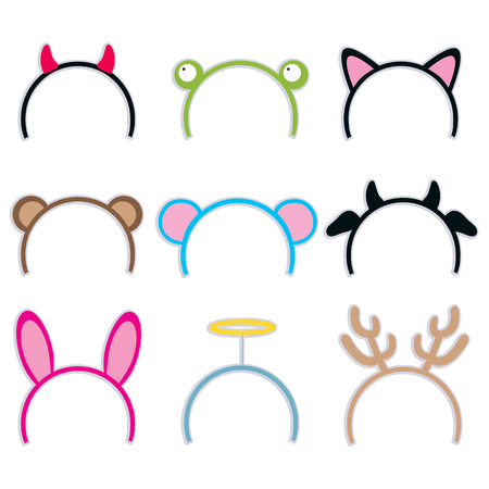 Collection of nine cute and sweet costume headbands for carnival Vector