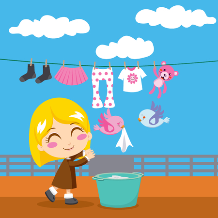 Cute blond little girl doing laundry with two birds helping