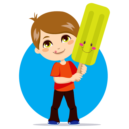Little boy eating a sweet and cute lemon flavor ice lolly Vector