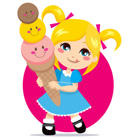Little blonde girl eating a sweet and cute three flavor ice cream cone Vector