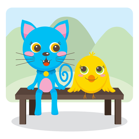 Blue cat and Yellow bird friends sit on a park bench together smiling and talking Vector