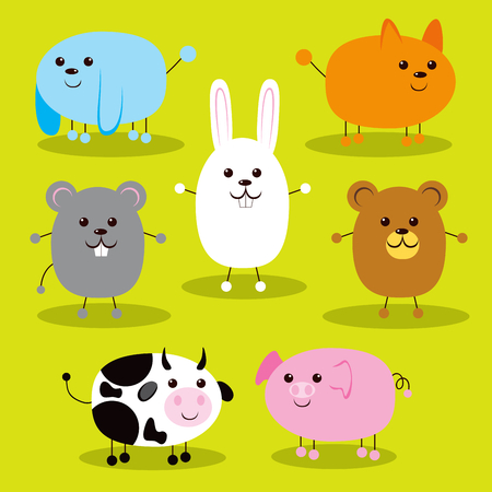 Collection of seven cute farm and pet animals smiling happy and waving hands Vector
