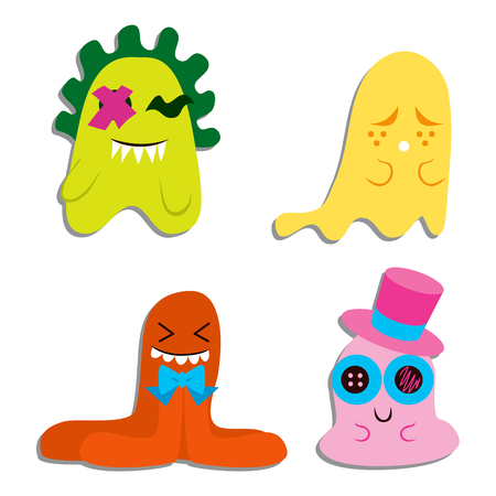 Collection of four cute and sweet blobby monster characters with different expressions Stock Vector - 9043848